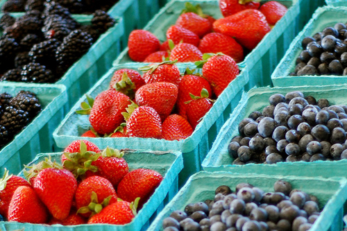 Shop for fresh berries at your local farmer's market.